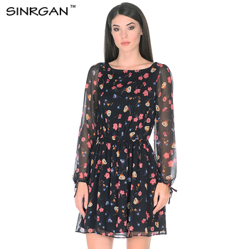 SINRGAN Casual Summer Boho Dresses For Women Elegante Round Neck Long Sleeve Floral Print Slim Chiffon Dress A line Vestidos floral chiffon dress long sleeve