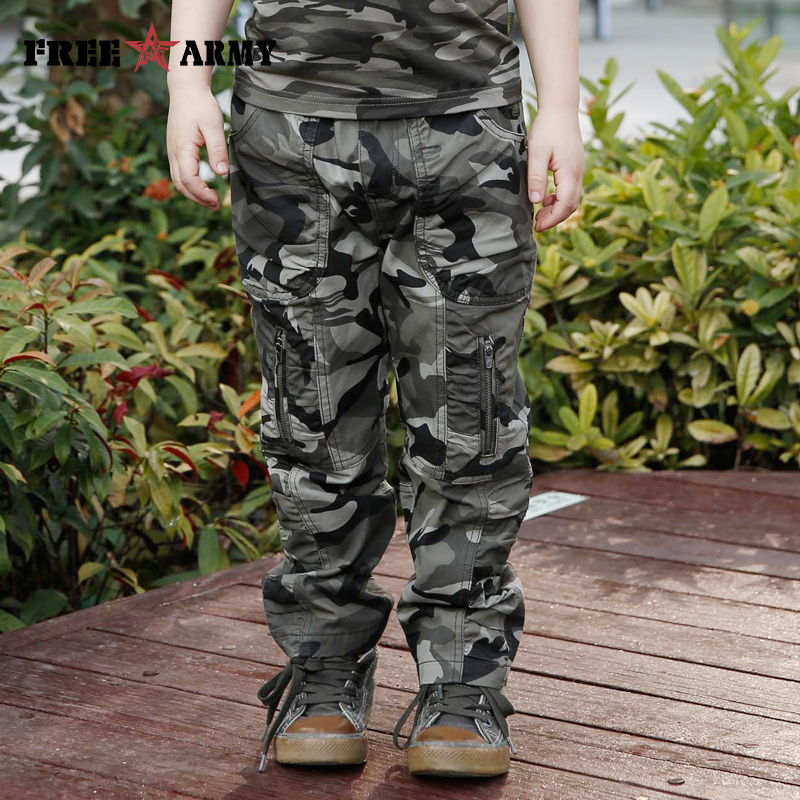 Brand New Spring Cotton Camouflage Pants Boys Military Children's Casual Outdoor Trousers for Kids Cargo Pants Army Camo KW-252 2017 new fashion men slim fit stretch biker jeans patchwork elastic white jeans pants for motorcycle famous brand size 28 to 38