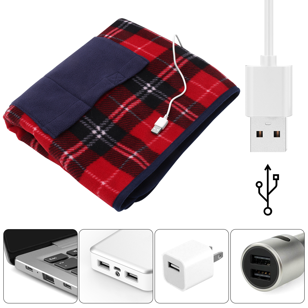 Electric Heating Blanket USB 5V Safety 88x65cm Portable Winter Warming Heated Carpet For Car Home Office Removable Washing