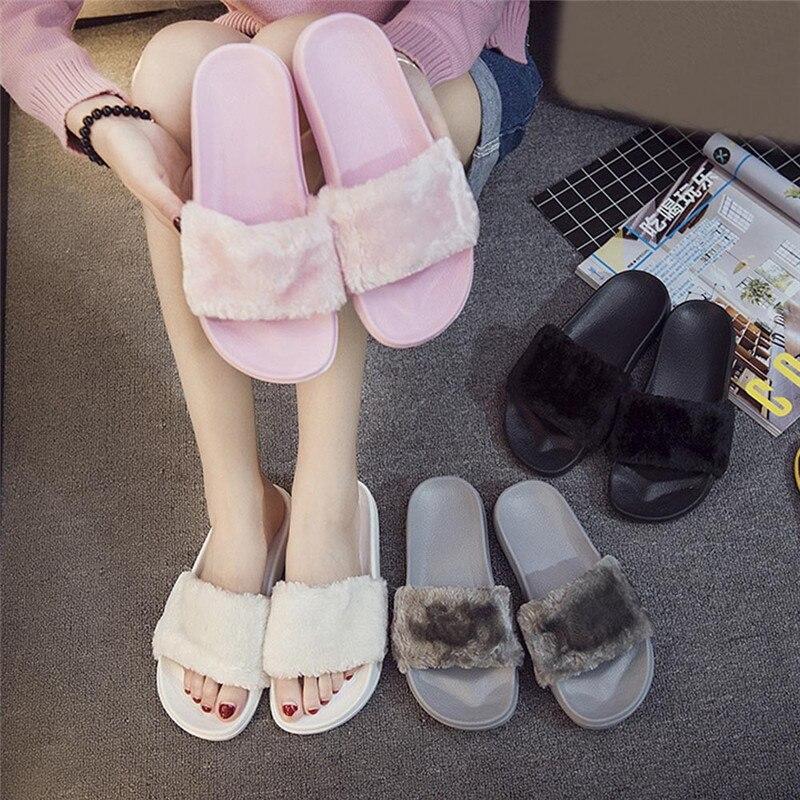 2018 nuevo Casual zapatillas Flip Flop sandalias Zapatillas Zapatos Mujer señoras resbalón en deslizadores Faux Fur mullido y tamaño plano 36 ~ 41