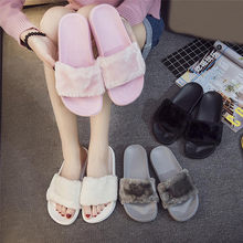 2019 New Casual Slipper Flip Flop Sandal Womens Slippers Zapatos Mujer Ladies Slip On Sliders Fluffy Faux Fur Flat Size 36~41(China)