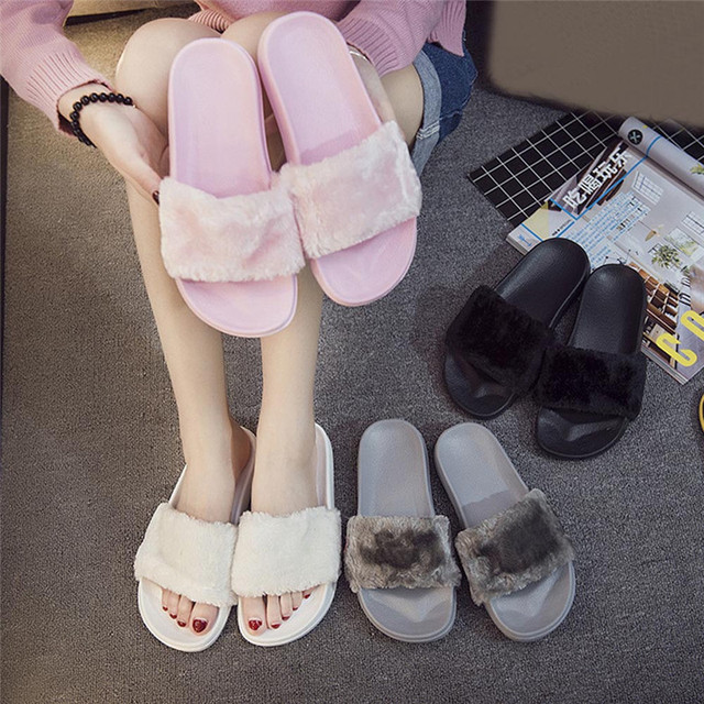 2019 New Casual Slipper Flip Flop Sandal Womens Slippers Zapatos Mujer Ladies Slip On Sliders Fluffy Faux Fur Flat Size 36~41
