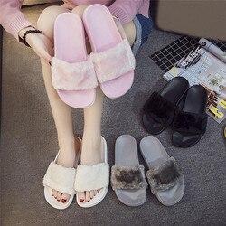 2019 Nova Casual Chinelo Sandália do Falhanço de Aleta Das Mulheres Chinelos Zapatos Mujer Senhoras Deslizar Sobre Sliders Fluffy Faux Fur Tamanho Plana 36 ~ 41