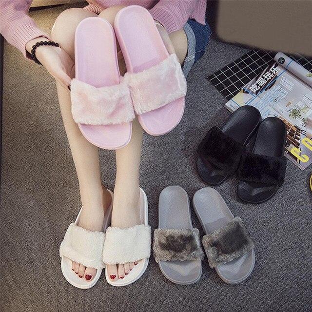 2019 Nuovo Casual Pantofola Flip Flop Delle Donne del Sandalo Pantofole Zapatos Mujer Donna Slip On Sliders Fluffy Pelliccia Del Faux Dimensioni Piatto 36 ~ 41