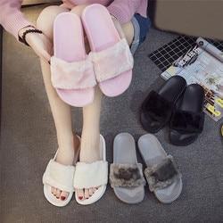 2019 neue Casual Slipper Flip Flop Sandale Frauen Hausschuhe Zapatos Mujer Damen Slip Auf Sliders Flauschigen Faux Pelz Flache Größe 36 ~ 41