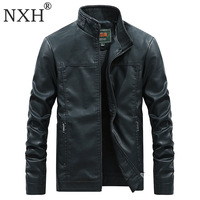 NXH Stand Collar Leather Jaket Men Motor Biker Jacket Faux leather Male Coat Winter Pu coats and jackets Thick White Blue