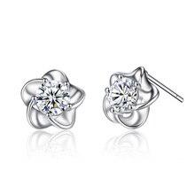 Korean Style Women Fashion Plum Blossoms Earrings Temperament Wild Zircon Flower Ear Jewelry Accessories Wholesale