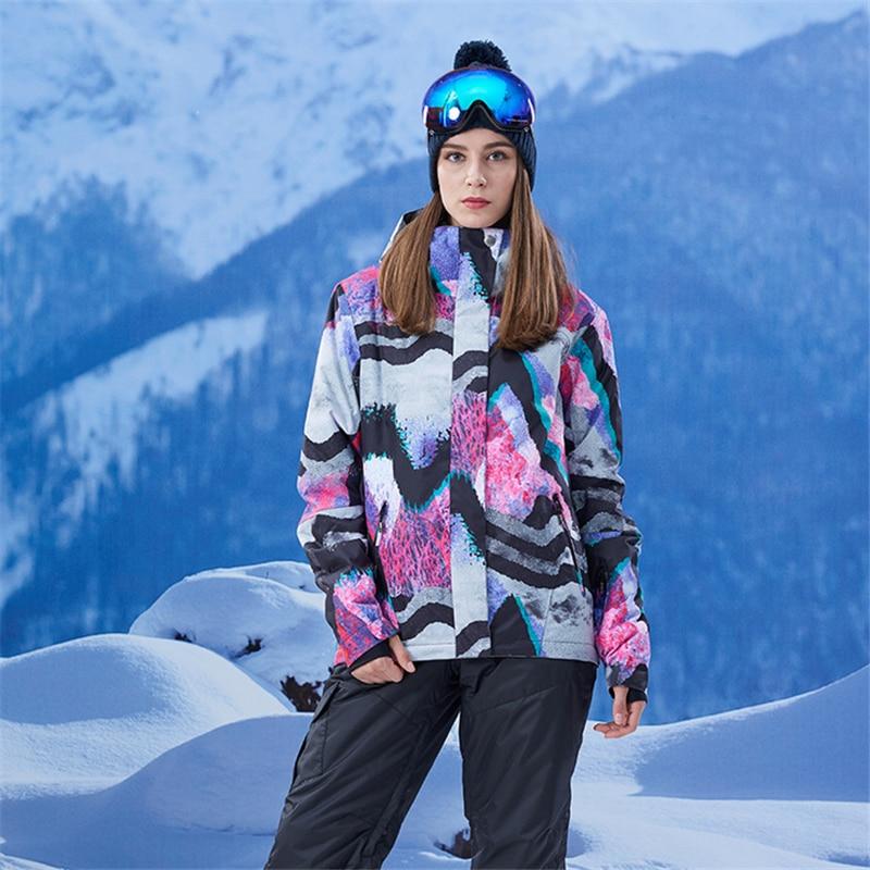 Gsou Neve di Marca Donne Giacca Da Sci Antivento Impermeabile Giacca Da Snowboard Caldo Outdoor Sport Giacca Giù Il Vestito di Grandi Dimensioni - 5