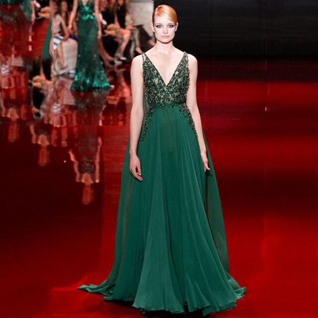 77e54a03c9b 2017 Haute Couture Vert Perlé Robe de Soirée Longue Haut de Gamme Émeraude  femmes Profonde V
