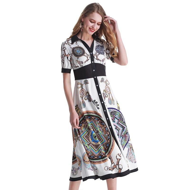 Fashion Runway Designer Dress Vrouwen V hals Elegante Partij Belted Wrap Hoge Taille Bloemenprint Vintage Maxi Vrouwelijke Lange Jurk-in Jurken van Dames Kleding op  Groep 2