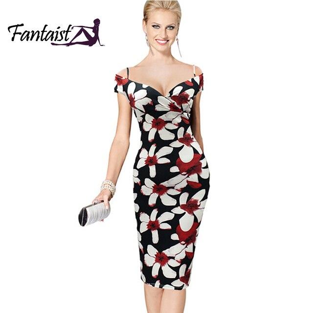 c3f9c72f16f8 Fantaist Women Fashion Sexy Deep V-Neck Off Shoulder Floral Print Clubwear Fitted  Dress Club Party Bodycon Pencil Sheath Dress