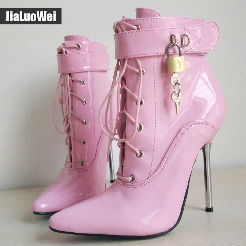 jialuowei 2019 New 12CM High Heel Shoes Pointed-toe Lace-up Metal Heels Sexy Fetish Padlocks Boots Women lockable Ankle Boots