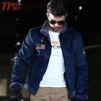 77City Killer American Flag Jackets 2017 Winter Warm Fur Thicken Coat Men's Jackets Military Casual Male Outerwear J1994