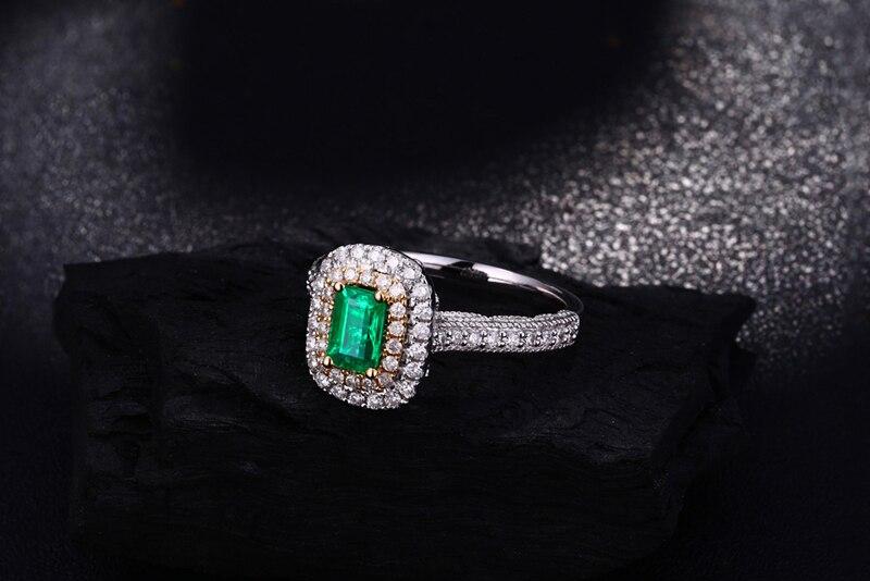 Antik 14ct Multi-Tone Emas 1.08ctw Natural Emerald H SI Berlian - Perhiasan bagus - Foto 5