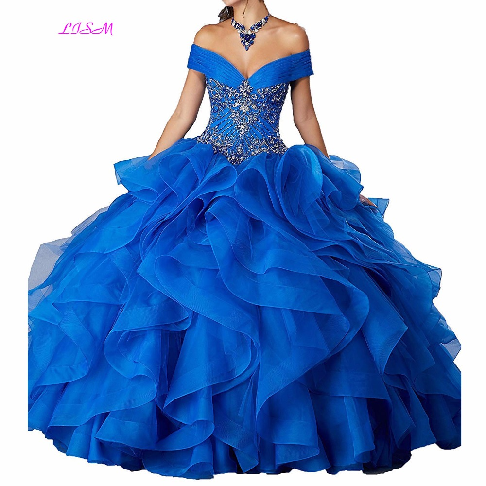 Beaded Quinceanera Dresses 2018 Off The Shoulder Prom Ball Gowns For Sweet 16 Beadings Ruffled Organza Long Party Dresses