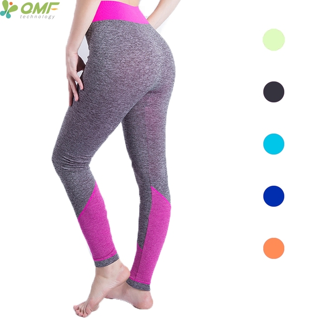 d6c7b7d3520ff8 Patchwork Womens Compression Fitness Running Tights Leggings High Waist Yoga  Pants Stretchy Push Up Sports Trousers Slim