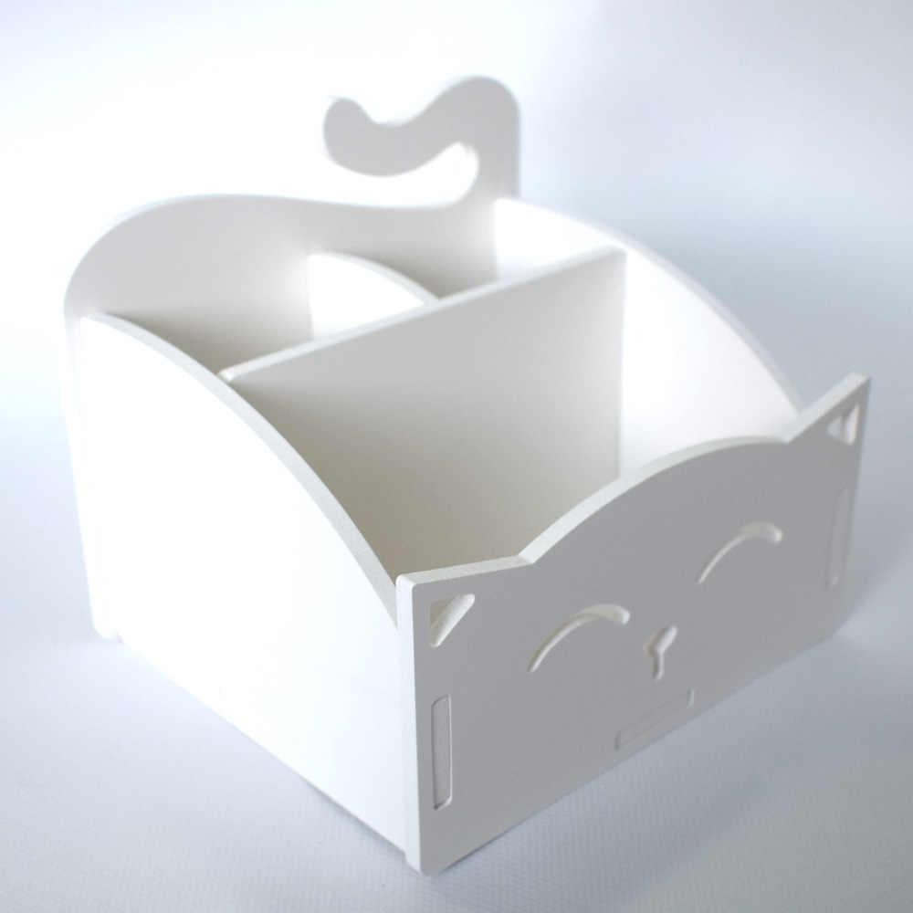 Белый DIY милый ПВХ кошка Настольный органайзер для дома/для хранение офисных принадлежностей держатель декор для ручек/карандашей/очков/косметики/канцелярских принадлежностей