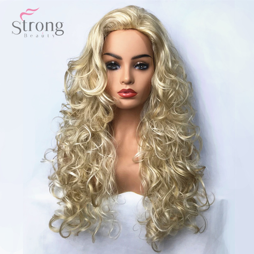 StrongBeauty Women's Synthetic Wig Blonde Long Curly Hair Capless Natural Wigs Cosplay