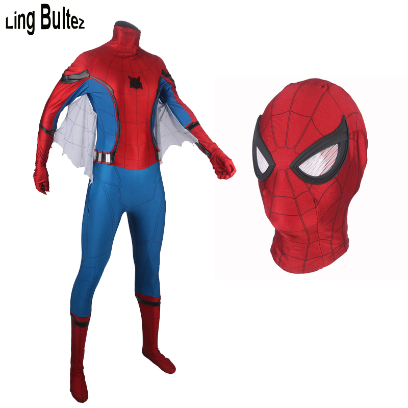 Ling Bultez High Quality 2017 Spiderman Homecoming Cosplay Costume With Wings Tom Holland Spider Man Suit Tom Spiderman Suit