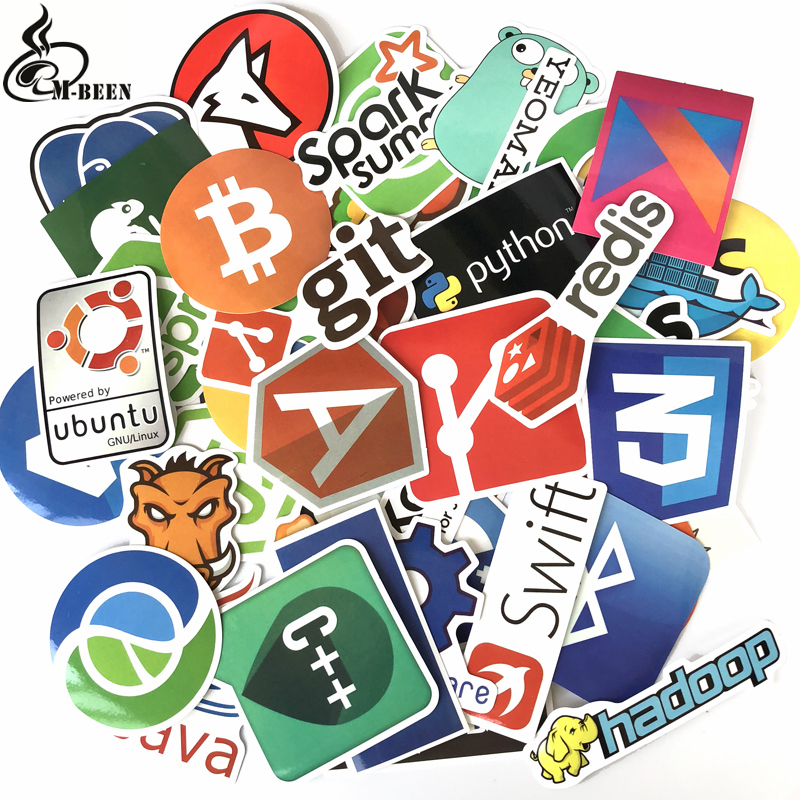 50Pcs Programming stickers geek hacker Internet Java JS Php Html Cloud Bitcoin Language APP Cool Stickers Laptop Car Stickers