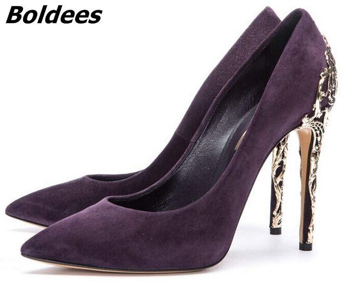 Chic Black Suede Metal Decorated Thin Heel Shoes Classy Metal Branch Stiletto Heel Dress Pumps Sexy Pointy Slip-on High Heels