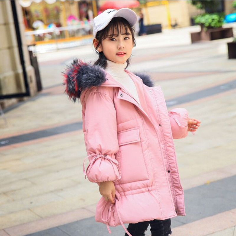 Russia Winter Children Down Jacket Girl 2018 New Fashion Big Fur Collar Girls Long Winter Tick Warm Down & Parkas Fit 5-10T hepa фильтр filtero fth 70 phi для philips