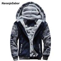 NaranjaSabor 2018 Autumn Winter Men S Jacket Hooded Coat Camouflage Hoodies Mens Clothing Thick Add Velvet