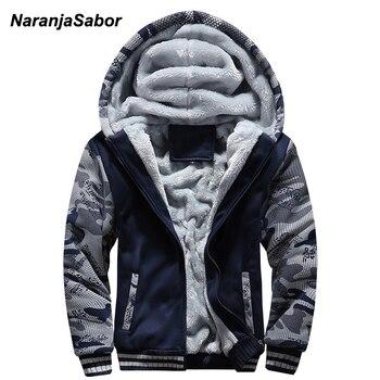 NaranjaSabor 2019 ฤดูใบไม้ร่วงฤดูหนาวผู้ชายเสื้อแจ็คเก็ต Hooded Coat Hoodies เสื้อผ้าหนาเพิ่มกำมะหยี่ชายเสื้อ 5XL