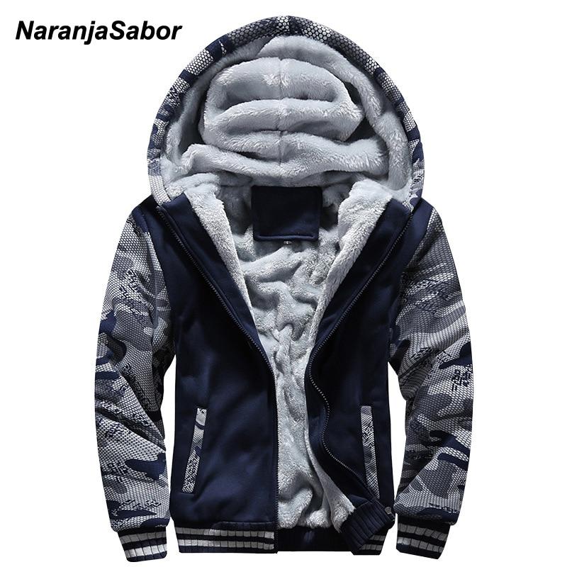 NaranjaSabor 2019 Autumn Winter Men's Jacket Hooded Coat Camouflage Hoodies Mens Clothing Thick Add Velvet Male Sweatshirts 5XL