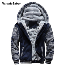 NaranjaSabor 2019 Autumn Winter Jacket Hooded Coat Camouflage Hoodies Mens Clothing