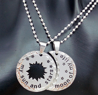 Environmental Stainless Steel No Fade Lead Free Moon Of My Life My Sun And Stars 2Pcs