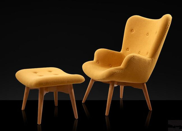 Mid Century Modern Retro Contour Chair With Foot Stool For Living Room Bedroom Furniture Armchair Tufted Accent Yellow