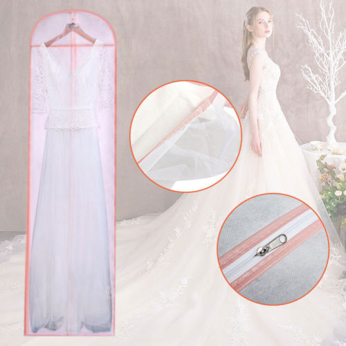 Long Dress Cover Storage Bag For Bridesmaid Wedding Gown Dress Clothing Covers Solid Color Pink Long Dust Cover
