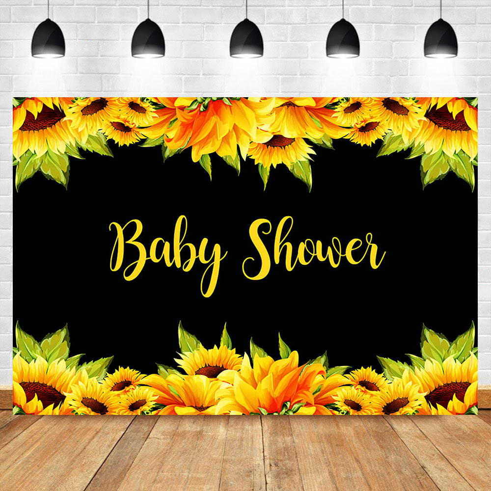 Baby Shower Backdrop Sunflower Watercolor Flowers Background Vinyl Black Backdrops Party Banner Photo