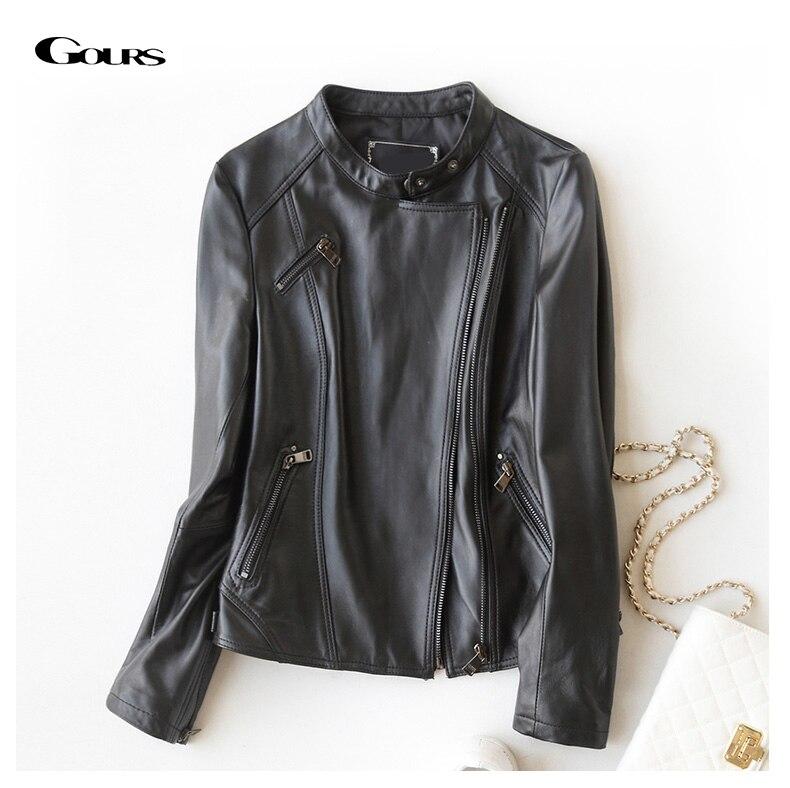 Gours Fashion Genuine Leather Jackets for Women Spring Classic Short Motorcycle Jacket Black Punk Style Ladies Sheepskin Coats