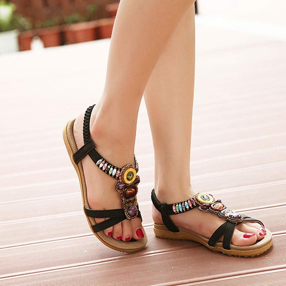 Women Summer Sandals Women's Fashion Sweet Beaded Toe Flats Bohemian Sandals