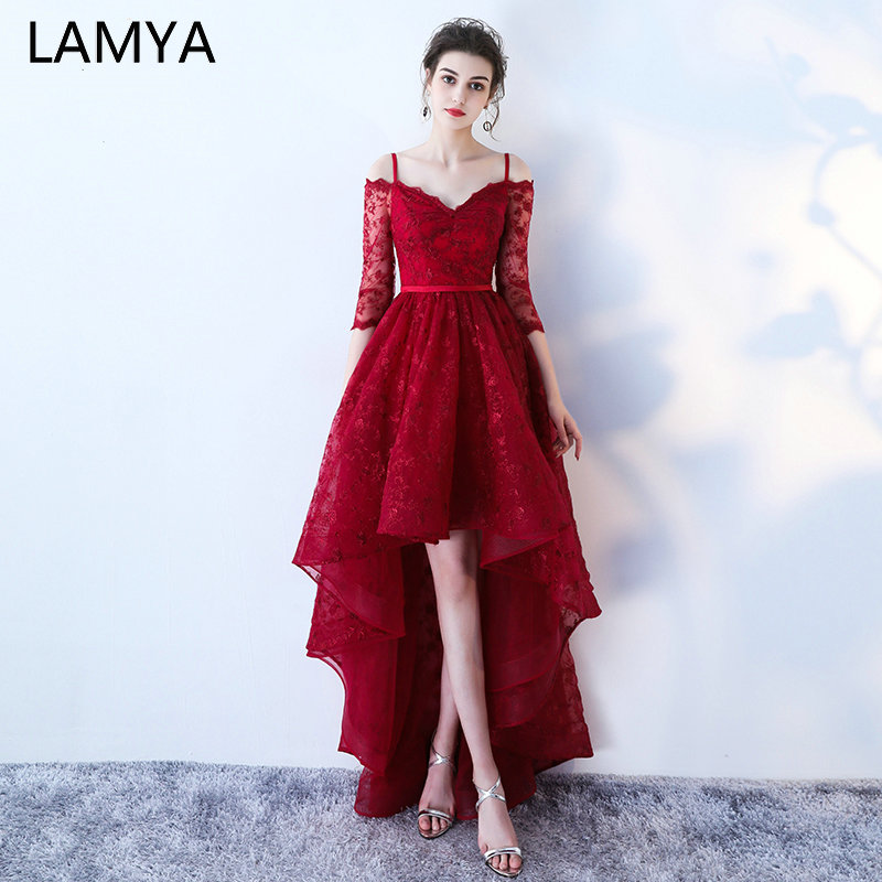 LAMYA High Low   Prom     Dress   Boat Neck With Half Sleeve Evening Party   Dresses   Women Black Lace Formal Gown Gown Robe De Soiree