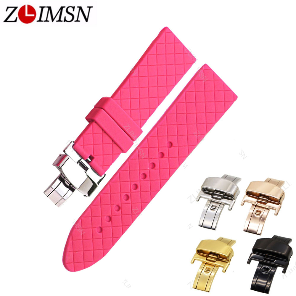Sport Rubber Band 24mm Red Green White Silicone Watchbands High Quality Stainless Steel Deployment Clasp Watch Strap G8 ZLIMSN 18 19 20 21 22mm 24mm watchbands belt men women black brown high quality genuine leather watch band strap deployment clasp