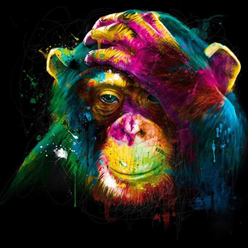5D DIY Diamond Painting Cross Stitch Colorful Apes Embroidery Full Square embroidery Rhinestone Mosaic decor in Diamond Painting Cross Stitch from Home Garden