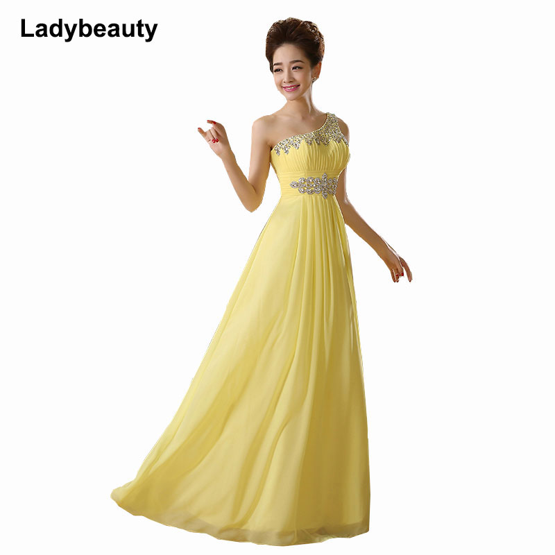Ladybeauty 2019 New Elegant One-Shoulder A-Line Long Evening Dresses  Crystals Beading Prom Party Dress Vestido De Festa Longo