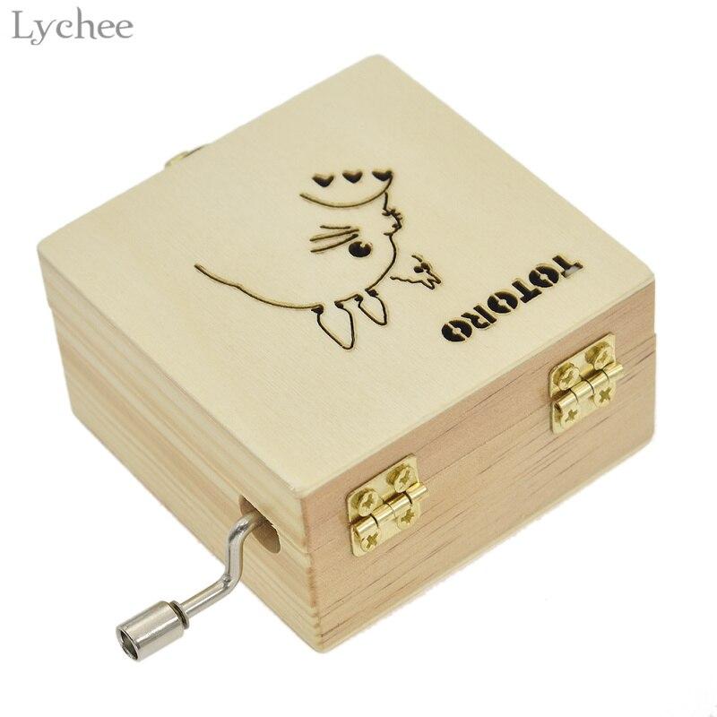 Lychee Wooden Rectangle Totoro Hand Music Box Jewelry Music Box Hand Cranked Swivel Girls Box Mechanism Gift