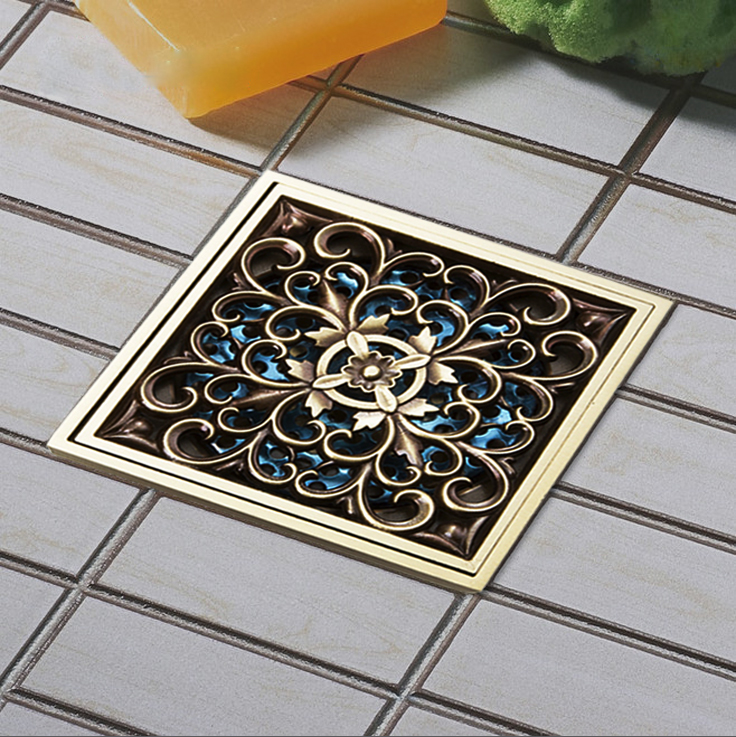 Difference Design  Fashion Style Antique Brass Carved Flower Art Bathroom Accessory Floor Drain Waste Grate 100mm*100mm