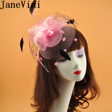 JaneVini 2019 Pink Feathers Veil Bride Hat Headdress Women Fascinator Headband Wedding Party Bridal Net Hat With Hair Pin Black(China)