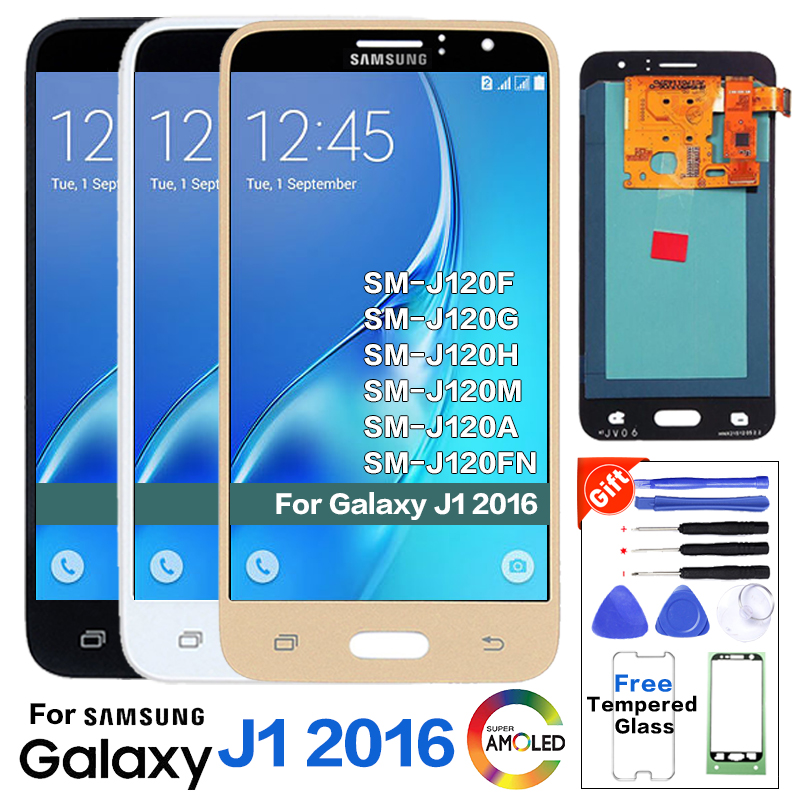Super amoled lcd para samsung galaxy j1 j120f j120ds j120g j120m j120h j120 display lcd de toque digitador + adesivo + ferramentas