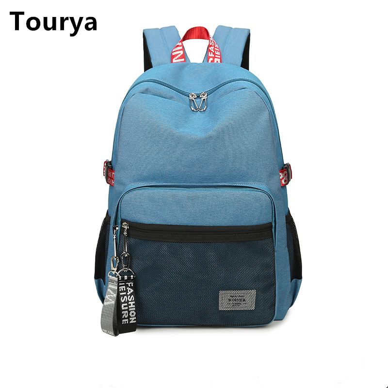 Tourya Casual Women Backpack College School Shoulder Bags Bookbag Schoolbag For Teenagers Girls Large Capacity Backbag Mochila women backpack soft leather large capacity casual travel backpack school bags for girls student bookbag mochila mujer sac a dos