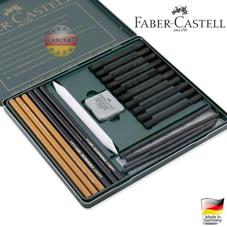 Livraison gratuite allemagne importé niveau professionnel 22 pièces 112967 Faber crayon gomme PITT charbon de bois croquis peinture combinaison