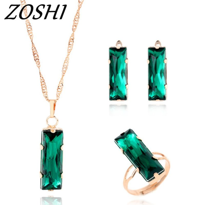 Luxury Austrian Crystals Bridal Jewelry Sets Gold Color Green Dubai Jewellry Sets for Women Necklace/Earrings/Ring Wedding