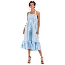 Womens Summer Designer Dresses Solid Color Spaghetti Strap Sleeveless Female Clothing Ruffle Casual Apparel