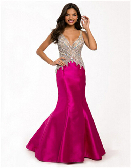 Sexy Back Two Tone Crystal Bodice Mermaid Royal Blue Rose Prom