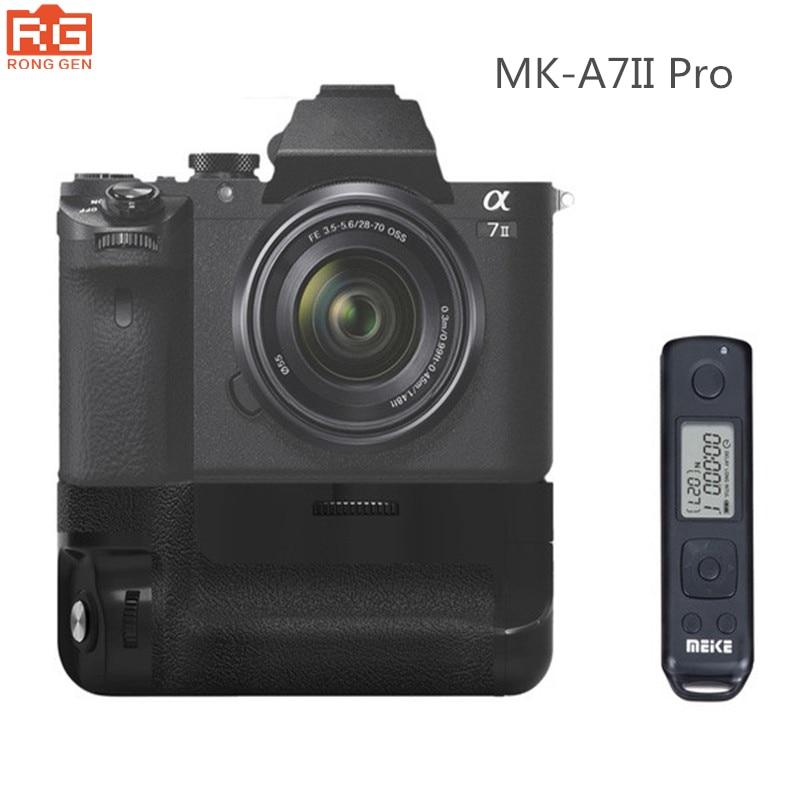 MK-A7II Pro Built-in 2.4g Wireless Control Battery Grip for Sony A7R II A7 II as VG-C2EM meike mk a7ii rpo vertical battery grip hand pack holder 2 4g wireless control for sony a7 ii camera as vg c2em